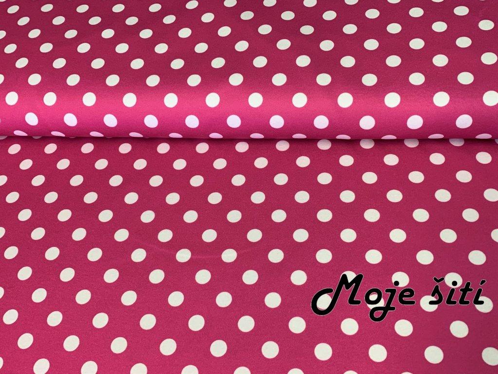 MicroFleece Bílé puntíky na růžové 12mm