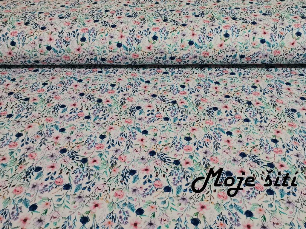 Bavlněný úplet s elastanem - Luční květy - digitální tisk
