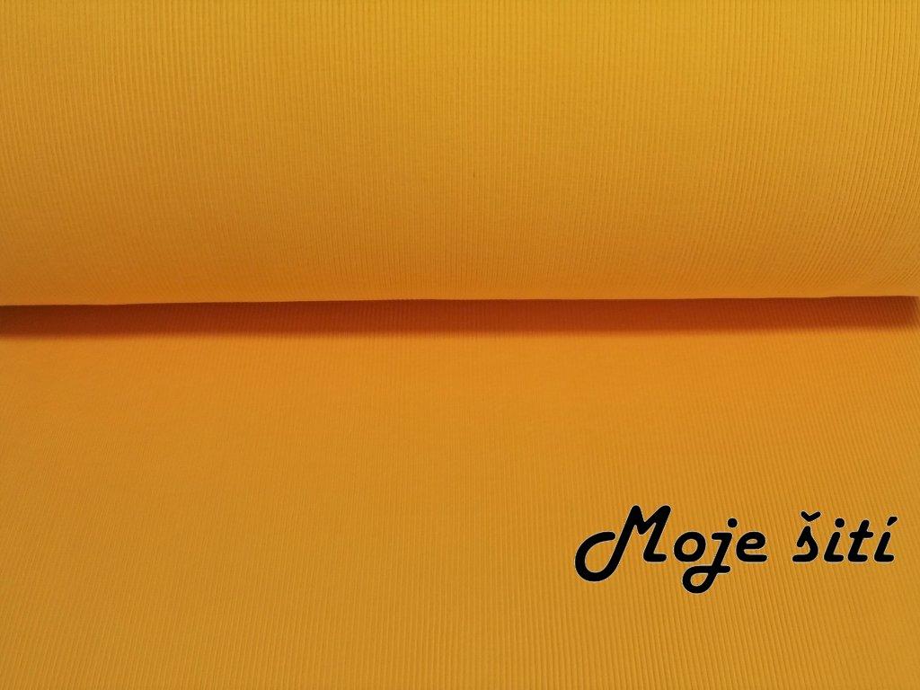 Bavlněný náplet s elastanem Bílý 2x2 žlutý