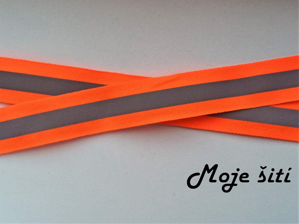 Reflexní našívací páska 25mm neon oranžová