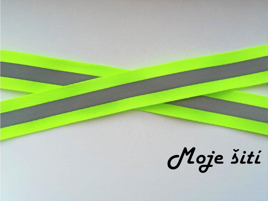 Reflexní našívací páska 25mm neon žlutá