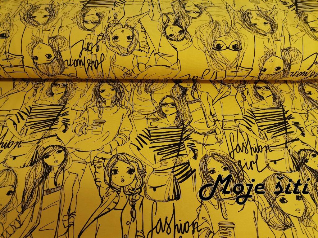 Bavlněný úplet s elastanem Fashion girls na jasné hořčicové
