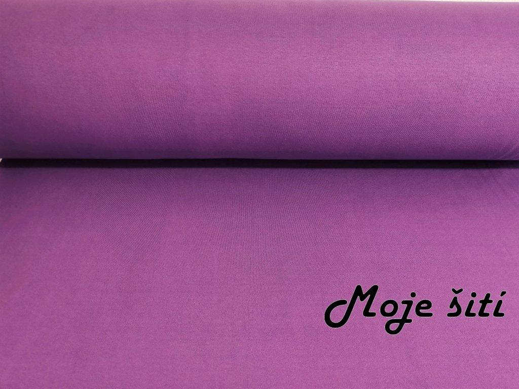 Bavlněný náplet s elastanem fialový světlý