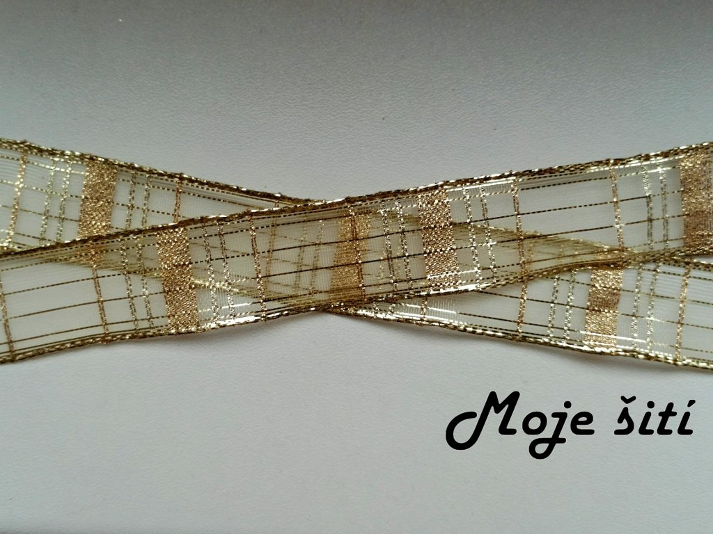 Kostkovaná monofilová stuha 25 mm ZLATÁ
