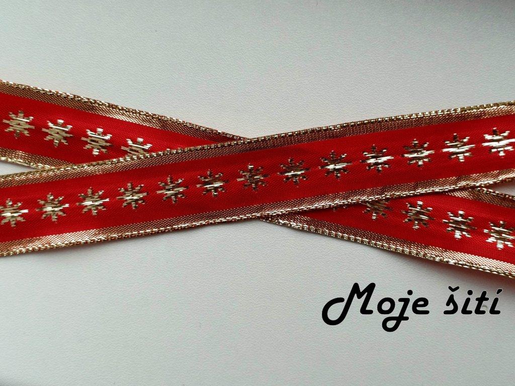 Plátnová stuha s drátkem 25 mm Hvězdičky na ČERVENO-ZLATÉ