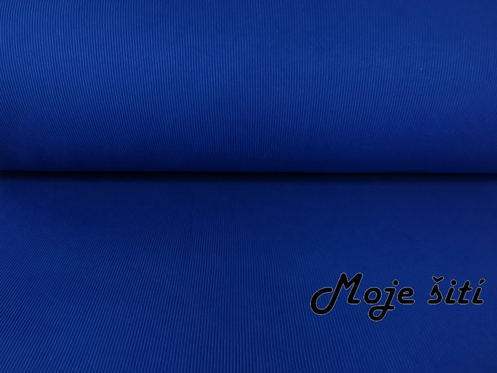 Bavlněný náplet s elastanem Královsky modrý 2x2 žebro K290