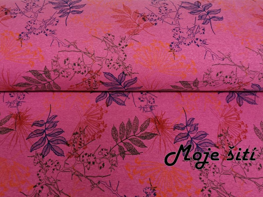 Lístečky na růžovém melíru