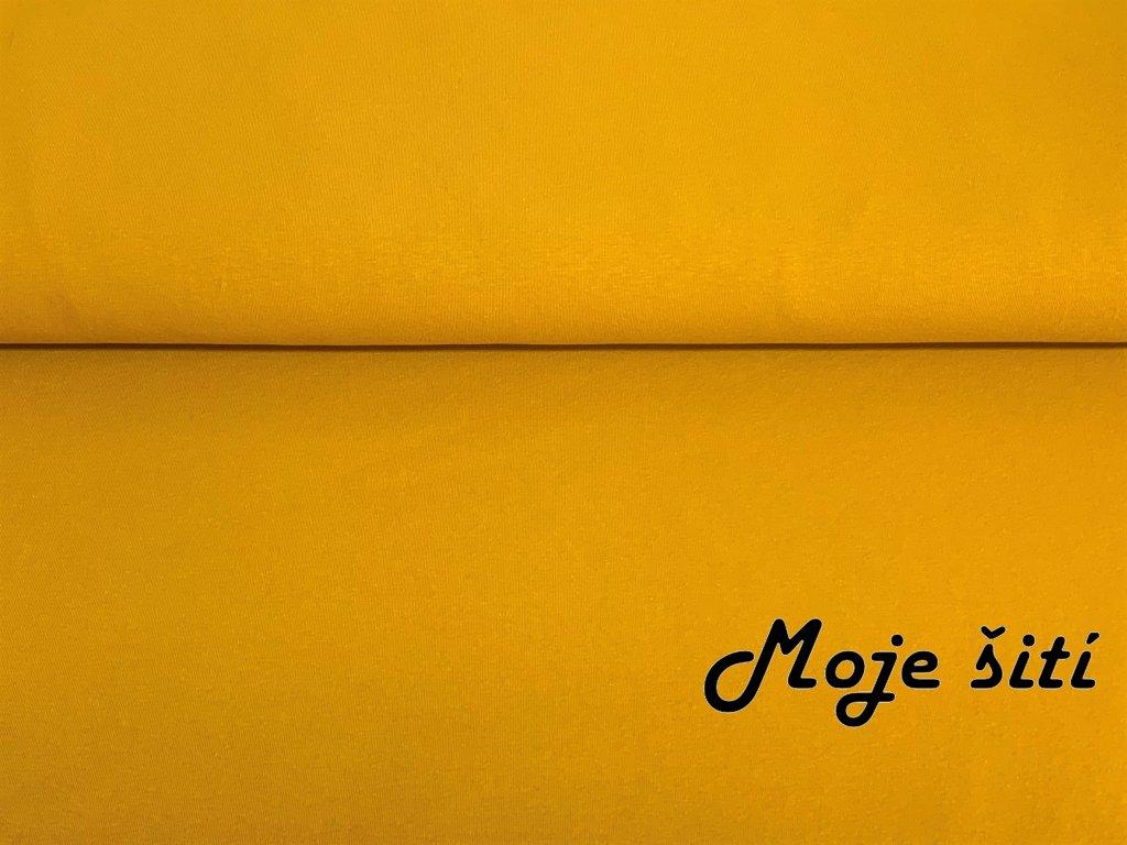 Bavlněný náplet s elastanem Hořčicový 2x2 žebro