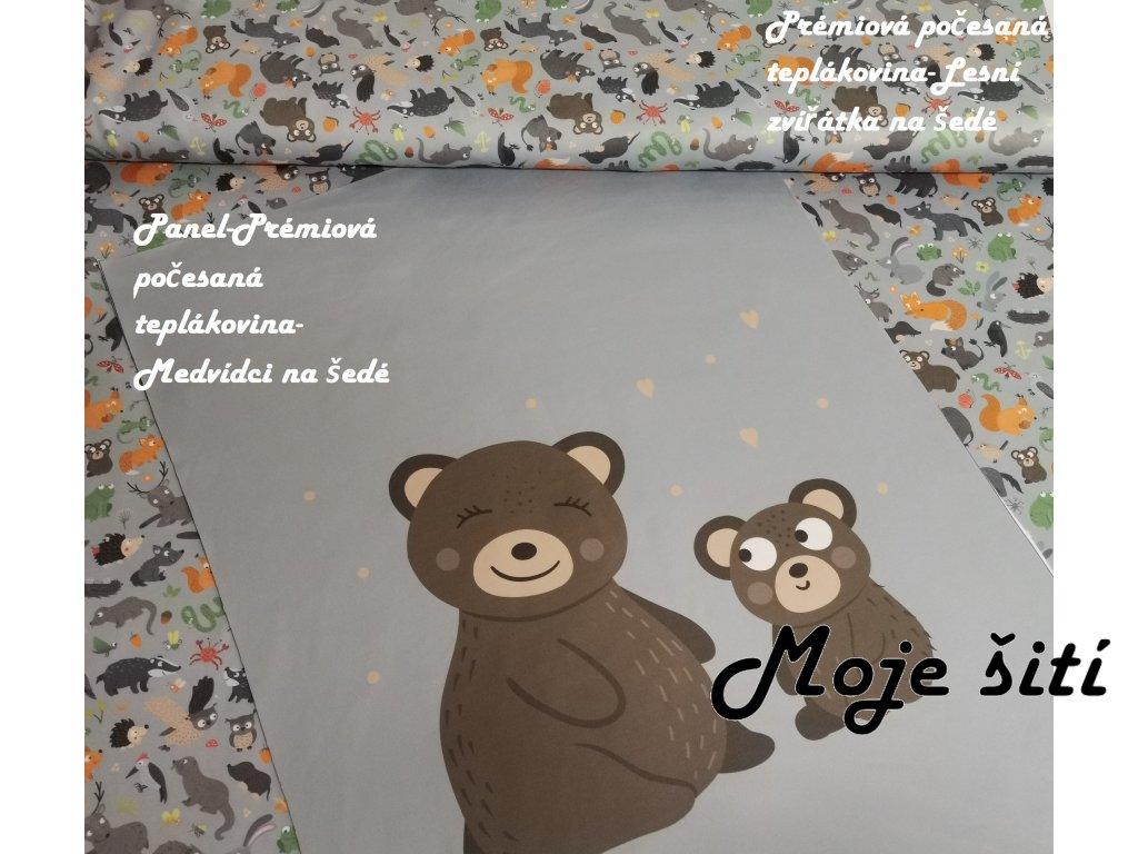 Panel - Medvídci na šedé 43 x 58 cm - prémiová počesaná teplákovina
