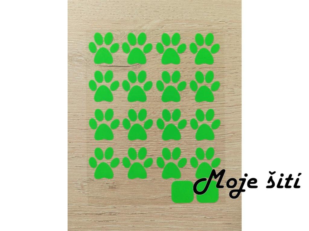 Neonové nažehlovací obrázky - tlapičky zelené