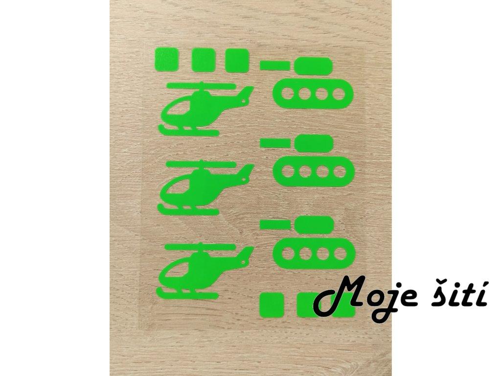 Neonové nažehlovací obrázky - tanky a helikoptéry zelené
