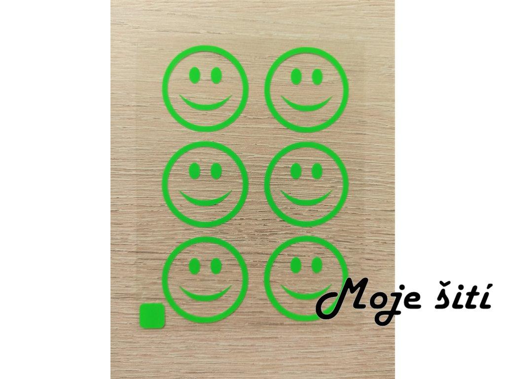 Neonové nažehlovací obrázky - smajlíci zelení