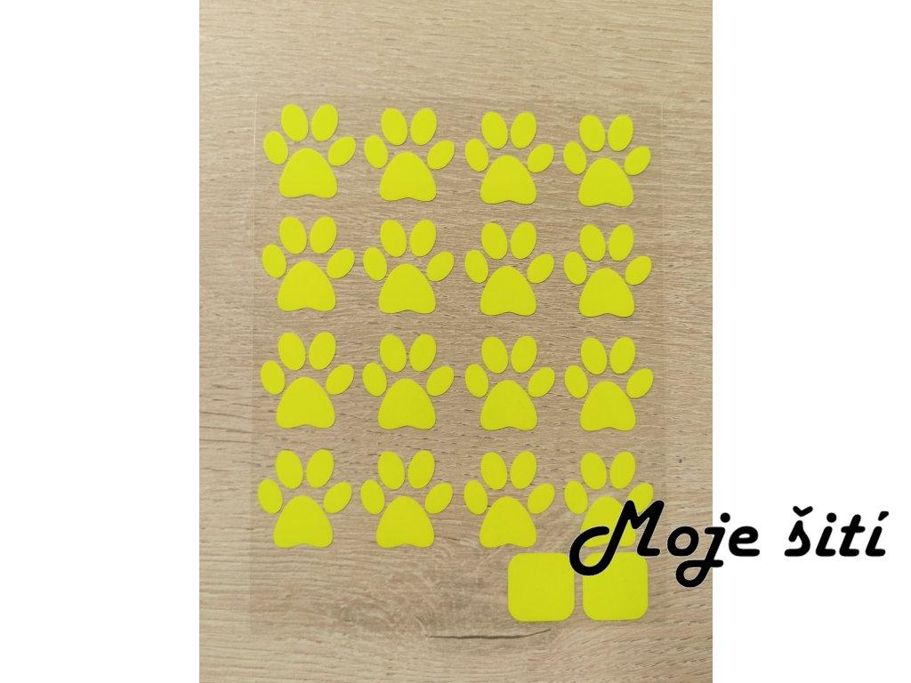 Neonové nažehlovací obrázky - tlapičky žluté