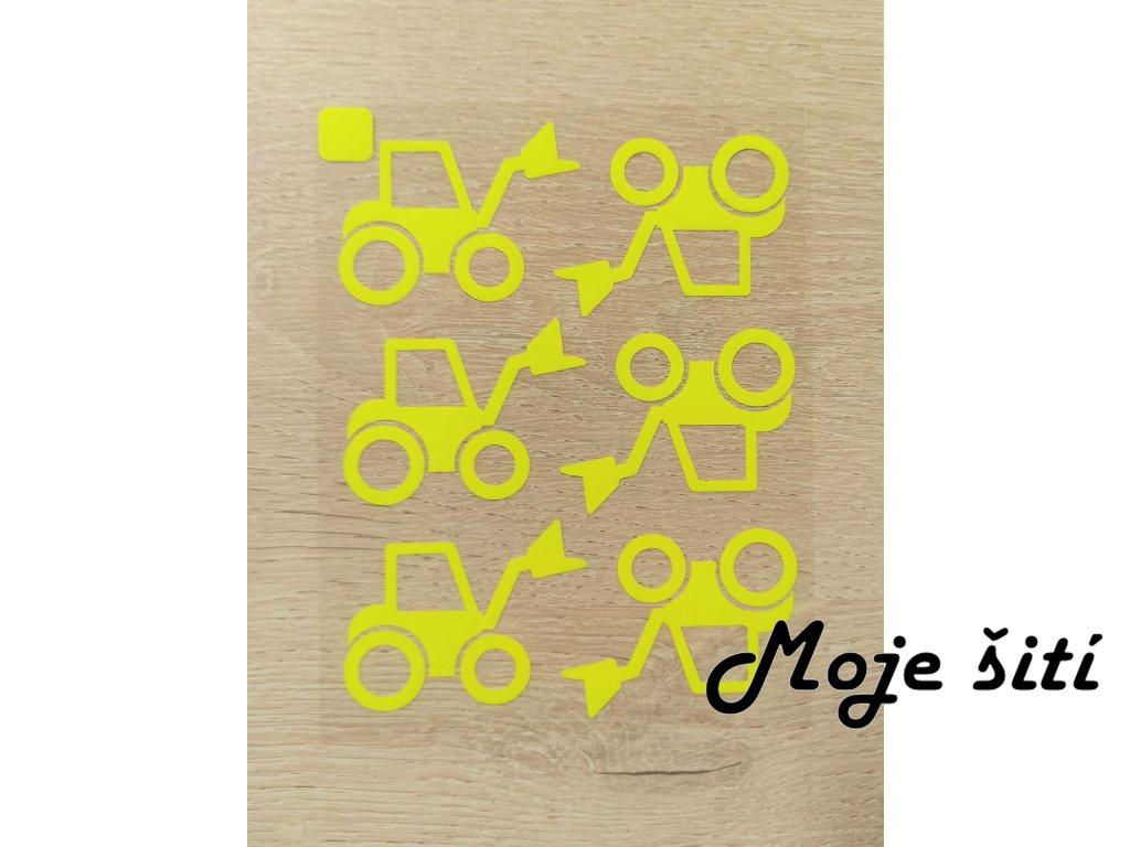 Neonové nažehlovací obrázky - traktor s vidlicí žlutý