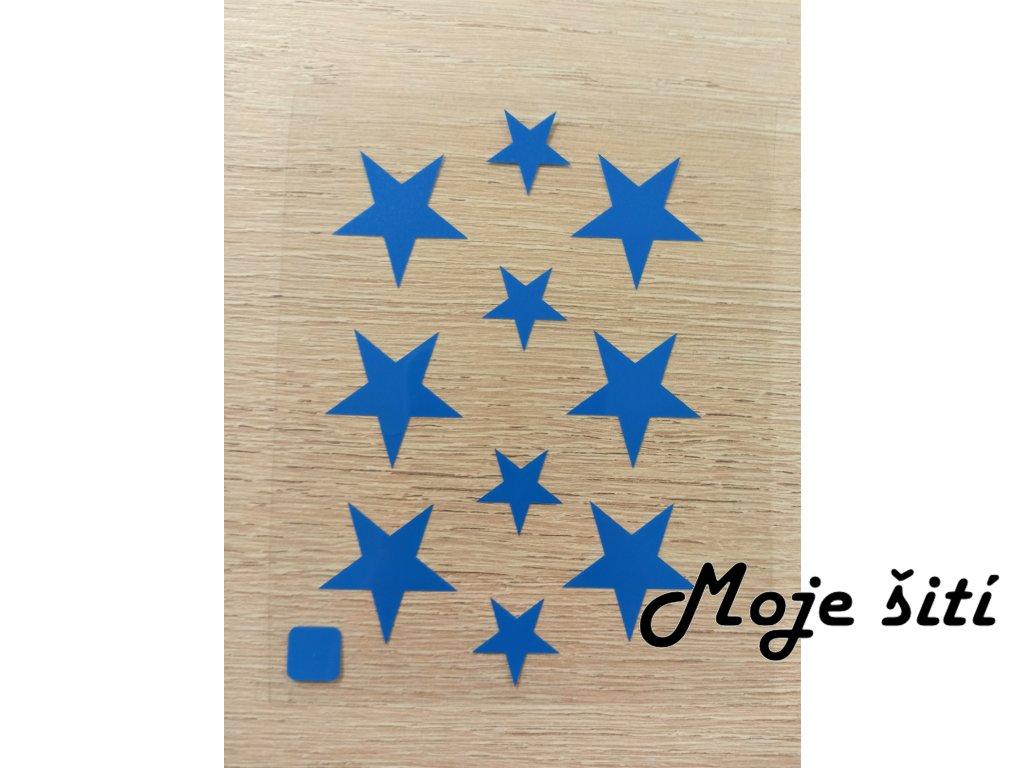 Neonové nažehlovací obrázky - hvězdičky modré