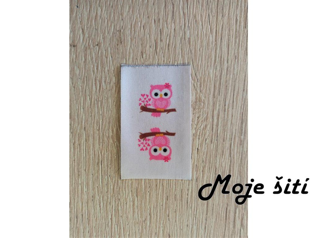 Barevné etikety do švu - Růžová sovička