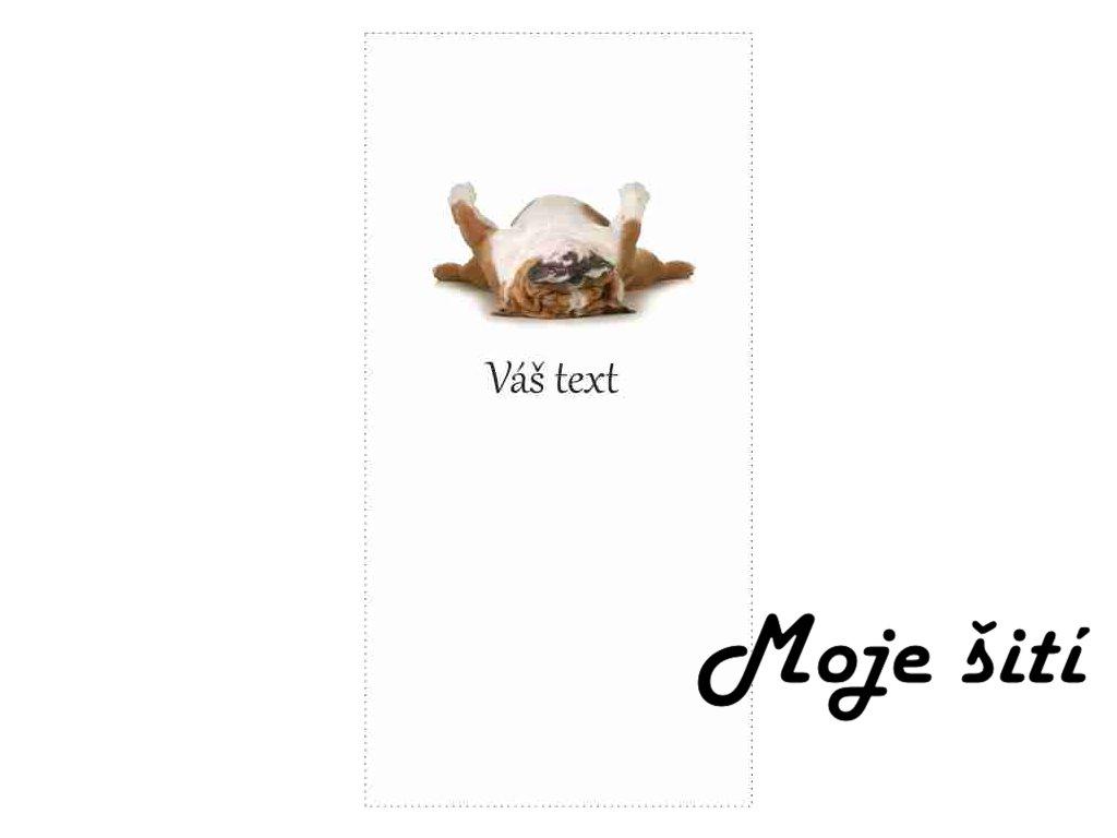 ležící pejsek text