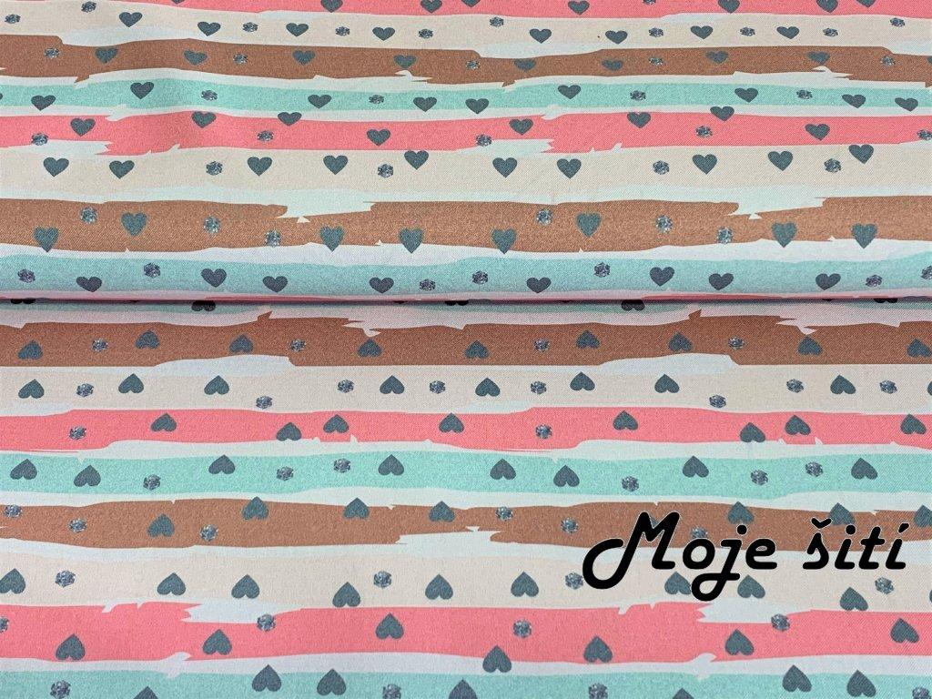 Kočárkovina Šedivá srdíčka na pastelových pruzích