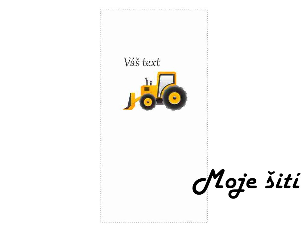 traktor s radlicí malovaný text
