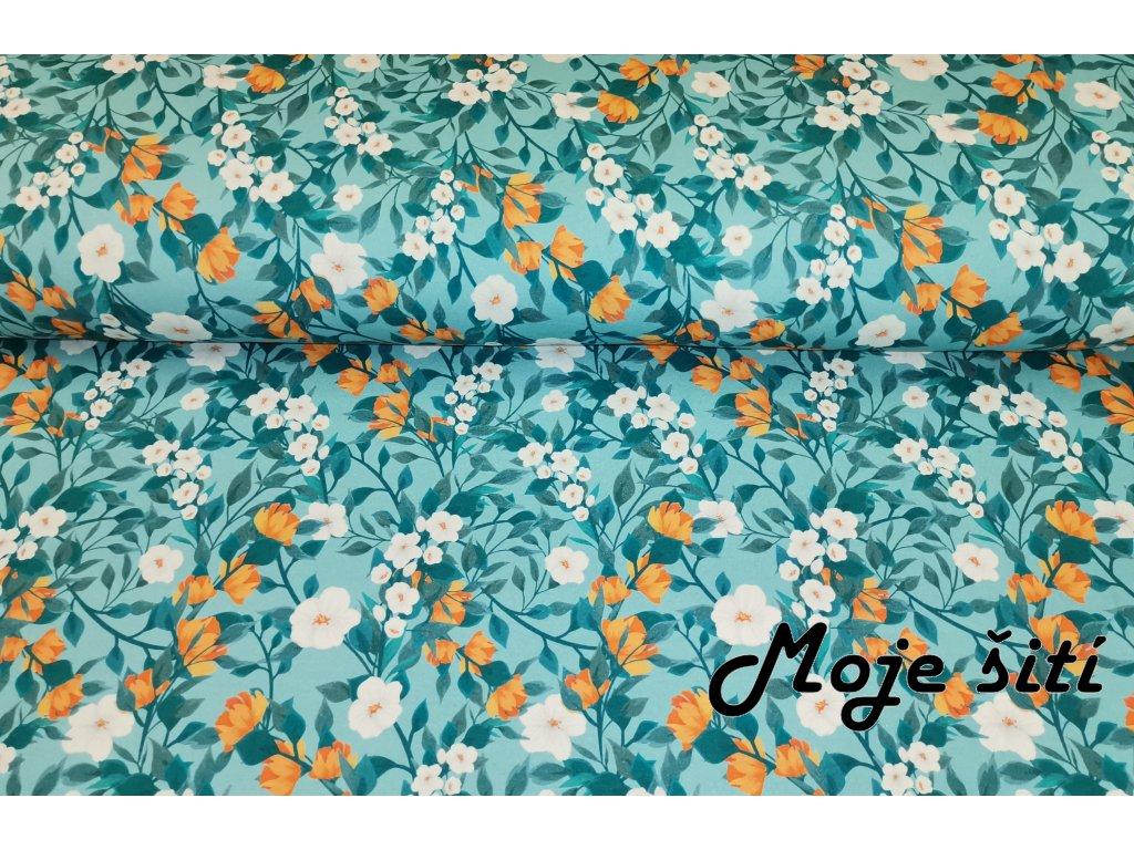Oranžovo modré květy (3)