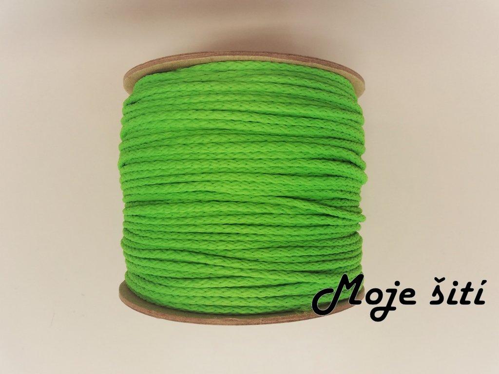 Oděvní šňůra 4mm NEON zelená
