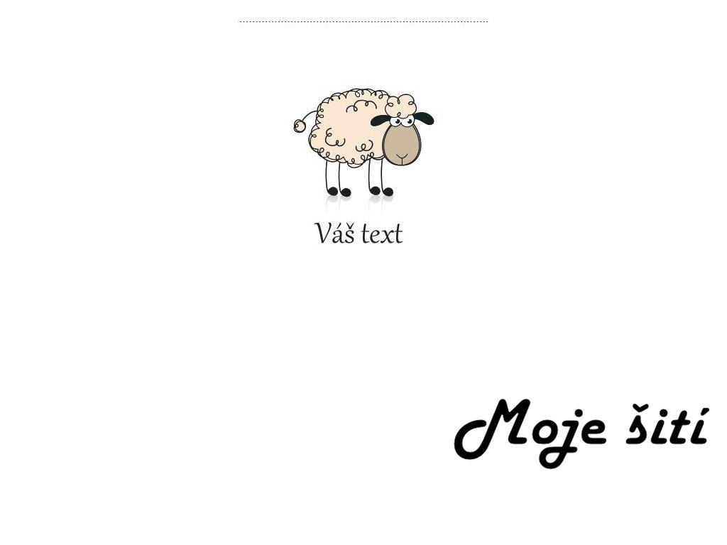 Barevné etikety do švu - Ovečka - zakázkový text