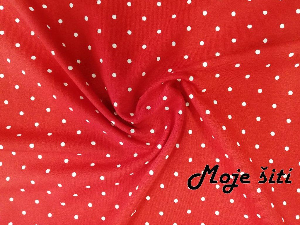 Teplákovina s elastanem Puntíky na červené