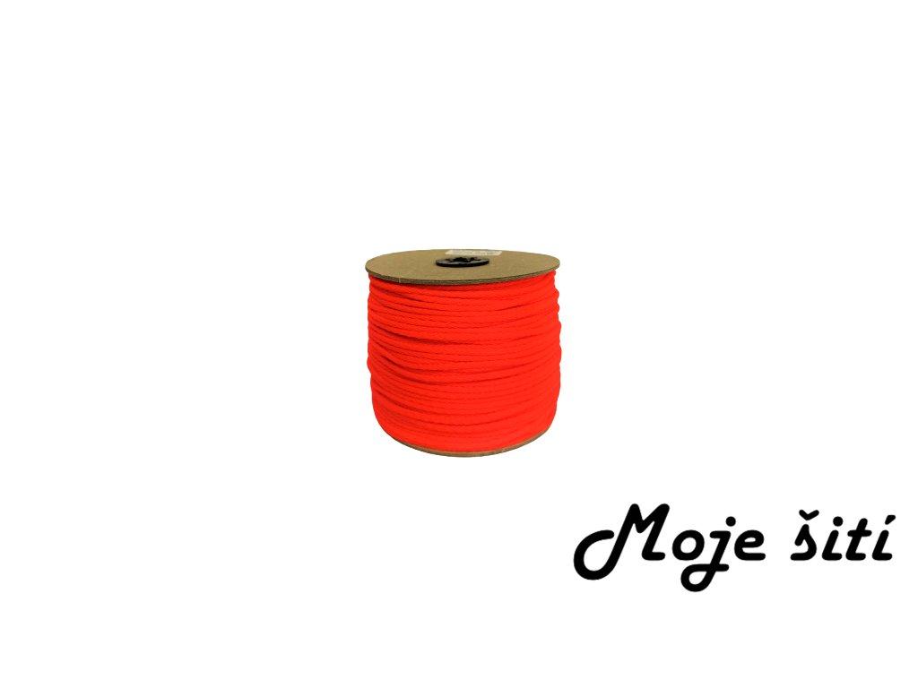 Oděvní šňůra 4mm NEON oranžová