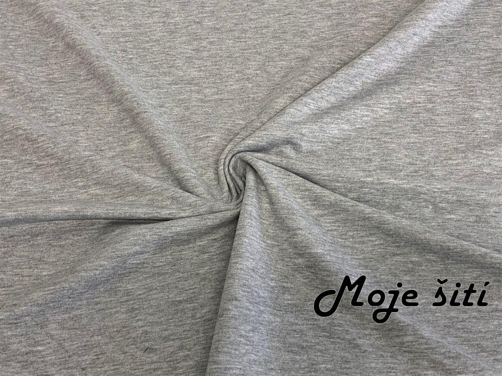 Teplákovina s elastanem šedý melír