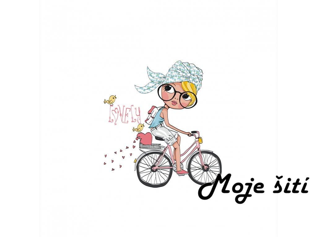 dívka na kole 40x40