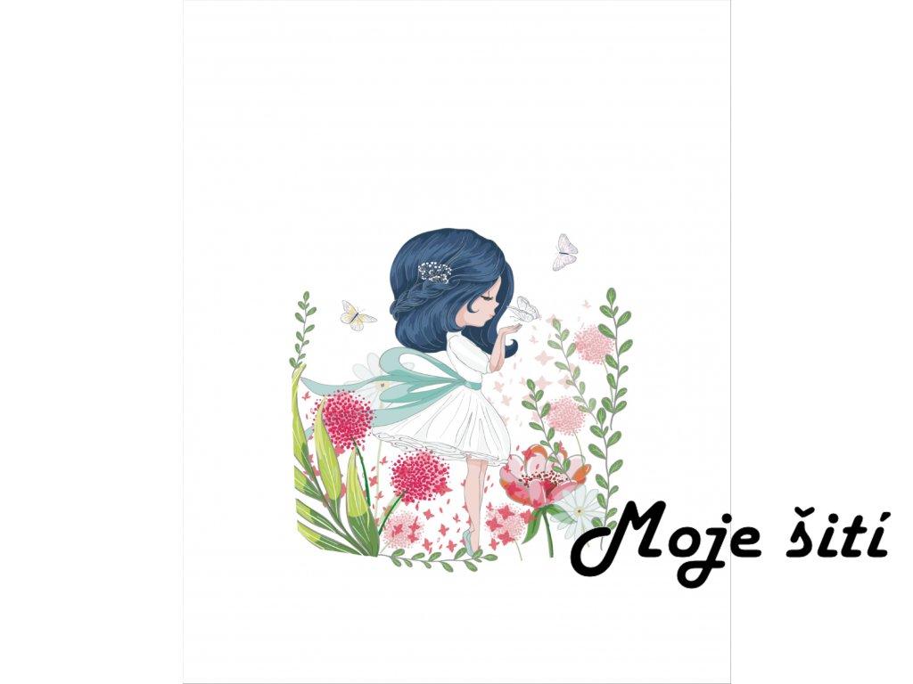 dívka v květinách 40x50