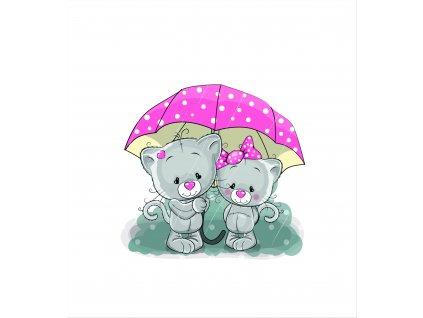 kočky pod deštníkem 50x55
