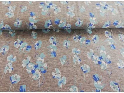 viskozový úplet s elastanem modré kvítky (2)