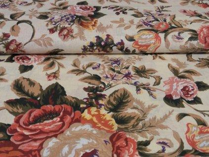 bavlnene platno rozkvetle pivonky