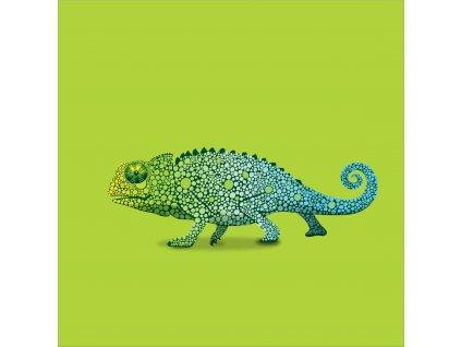 chameleon zelený 20x20
