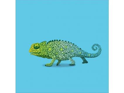 chameleon modrý 20x20