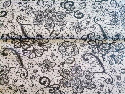 Šedý krajkový motiv na bílé