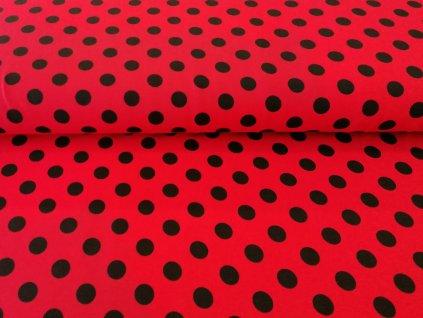 bavlneny uplet cerne puntiky na cerven