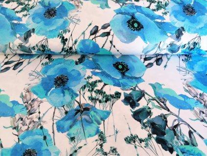 viskoza modre kvety na bile