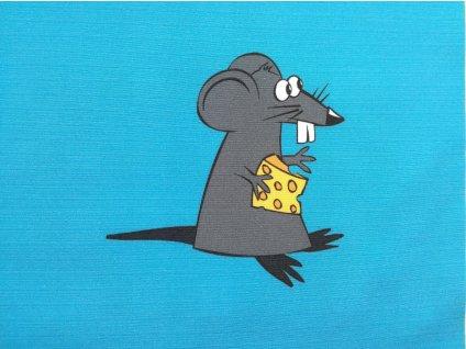 Softshellový zimní panel Myš se sýrem na modré 20x20cm