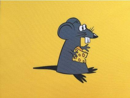 Softshellový zimní panel Myš se sýrem na hořčicové 20x20cm