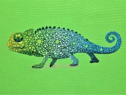 Micropeach panel Chameleon na zelené 20x20cm