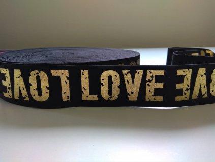 ozdobna guma 40 mm LOVE zlatý na cerne