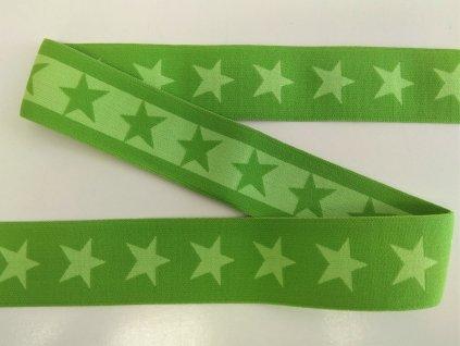 Ozdobna guma 40 mm Hvezdy jasne zelene