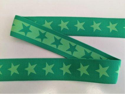Ozdobna guma 40 mm Hvezdy tmave zelene