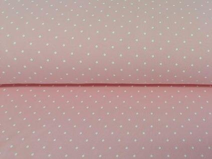 Teplákovina s elastanem Bílé puntíky na jemně růžové