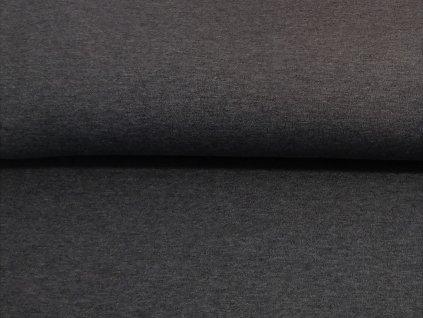 Počesaná teplákovina s elastanem Tmavě šedý melír