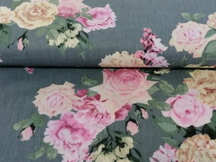 Bavlněné plátno Rozkvetlé růže na šedé