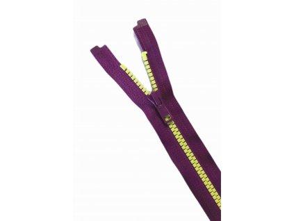 zip ykk fialovy s neon zlutymi zoubky
