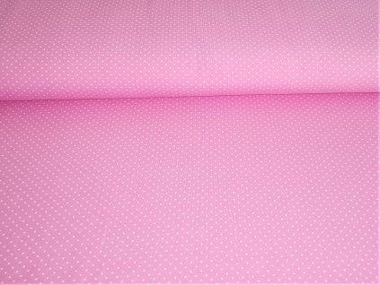 Bavlněný úplet s elastanem Bílé puntíčky na světle růžové